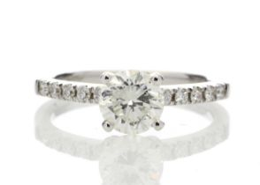 18k White Gold Diamond Ring With Stone Set Shoulders 1.25 Carats