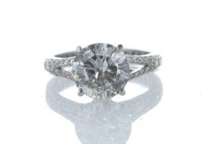 18k White Gold Stone Set Shoulders Diamond Ring 3.67 Carats