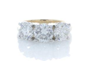 18k Yellow Gold Three Stone Claw Set Diamond Ring 3.37 Carats
