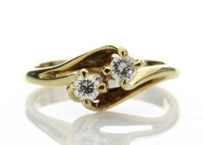 18k Two Stone Cross Over Claw Set Diamond Ring 0.47 Carats