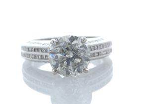 18k White Gold Stone Set Shoulders Diamond Ring 4.51 Carats