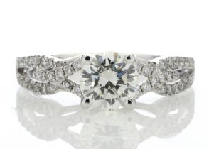 18k White Gold Claw Set With Stone Set Shoulders Diamond Ring 1.32 Carats