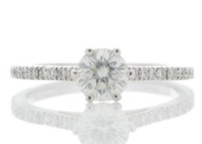 18k White Gold Solitaire Diamond ring With Stone Set Shoulders 0.90 Carats