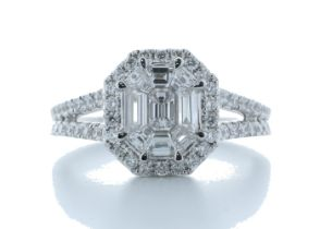 18k White Gold Single Stone With Halo Setting Ring 1.20 Carats