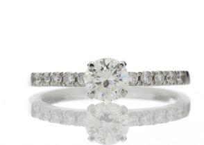 18k Stone Set Shoulders Diamond Ring 0.69 Carats