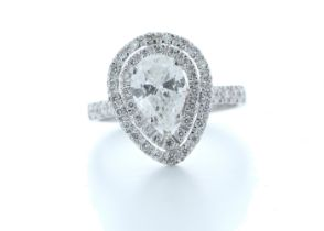 18k White Gold Single Stone With Halo Setting Ring 1.71 (1.27) Carats