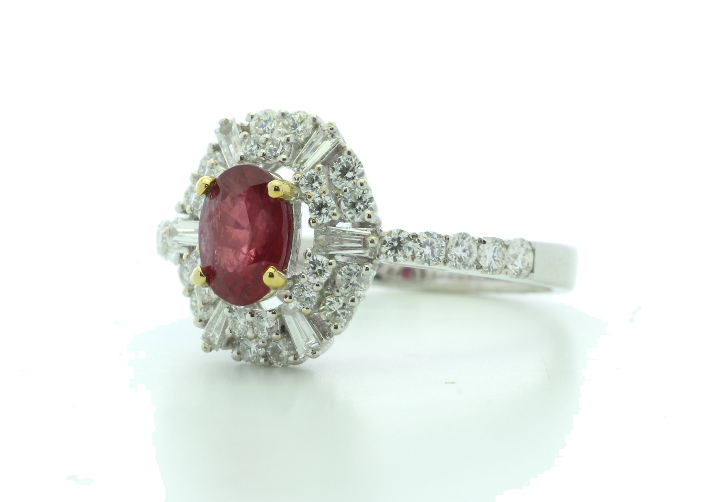 18k White Gold Cluster Diamond And Ruby Ring (R0.86) 0.80 Carats - Image 2 of 5