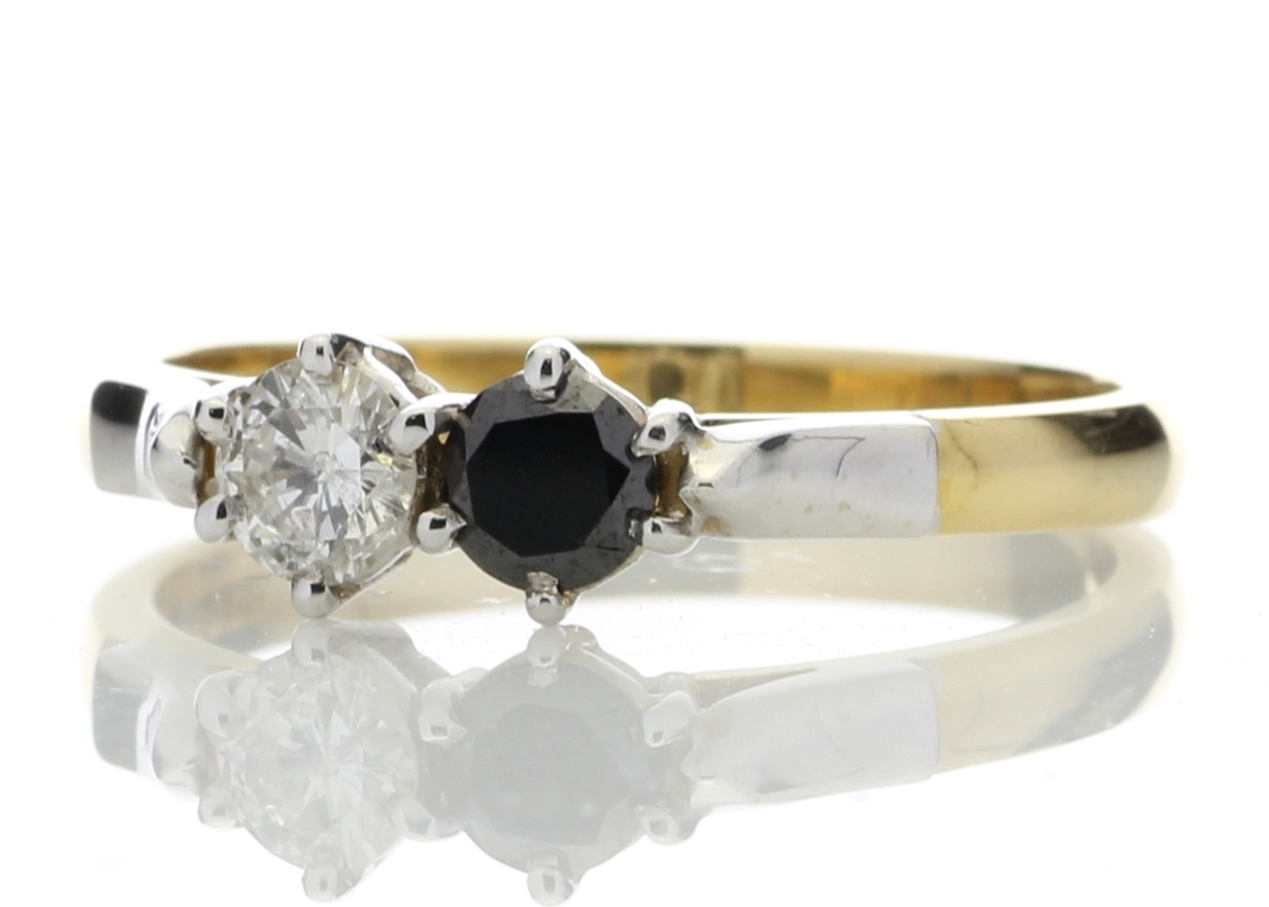 18k Two Stone Claw Set Diamond With Black Treated Stone Ring 0.50 Carats - Image 2 of 4