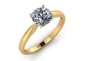 18k Yellow Gold Claw Set Diamond Ring 0.50 Carats