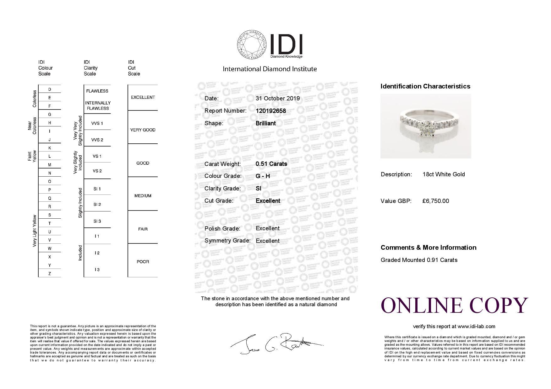 18k White Gold Stone Set Shoulders Diamond Ring 0.91 Carats - Image 5 of 5