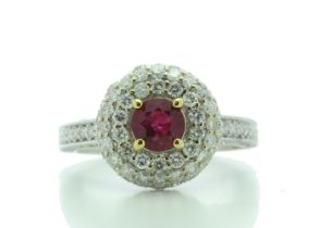 18k White Gold Cluster Diamond And Ruby Ring (R0.73) 1.90 Carats