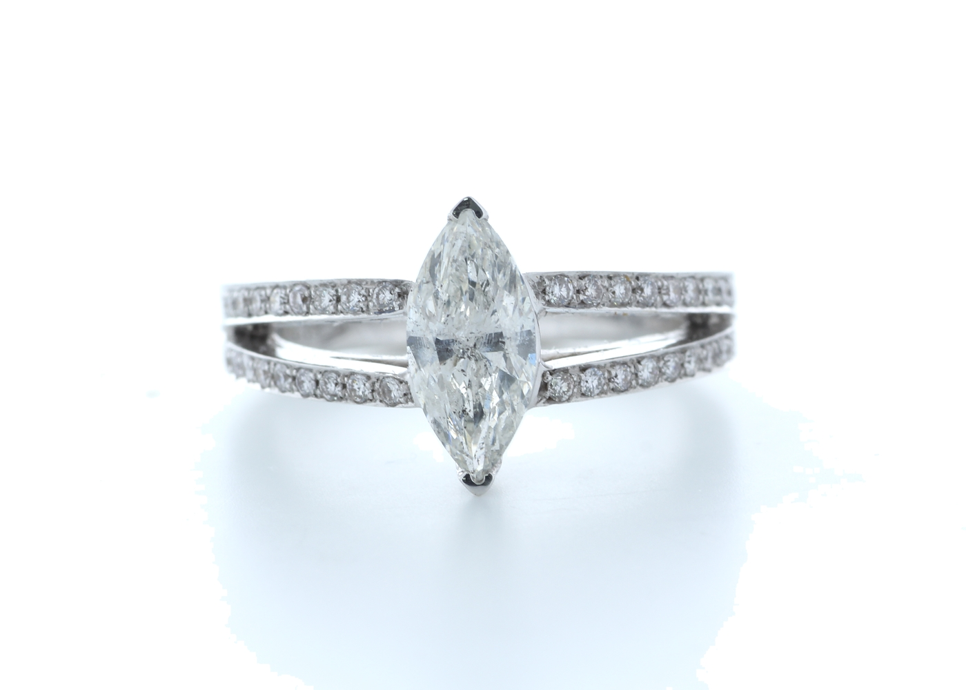 18k White Gold Marquise Cut Diamond Ring 1.41 (1.11) Carats