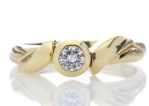 18k Rub Over Set Diamond Ring 0.17 Carats