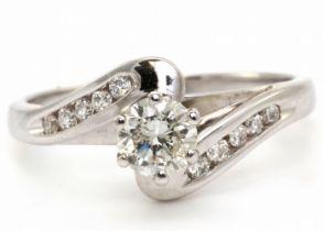 18k White Gold Single Stone Diamond Ring 0.65 Carats