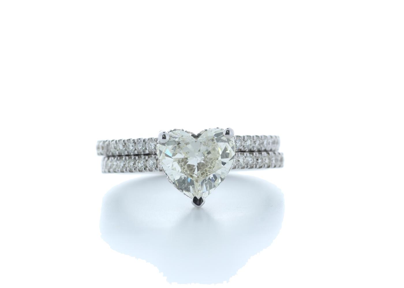 18k White Gold Heart Shape Diamond Ring With Matching Band 2.22 (1.60) Carats