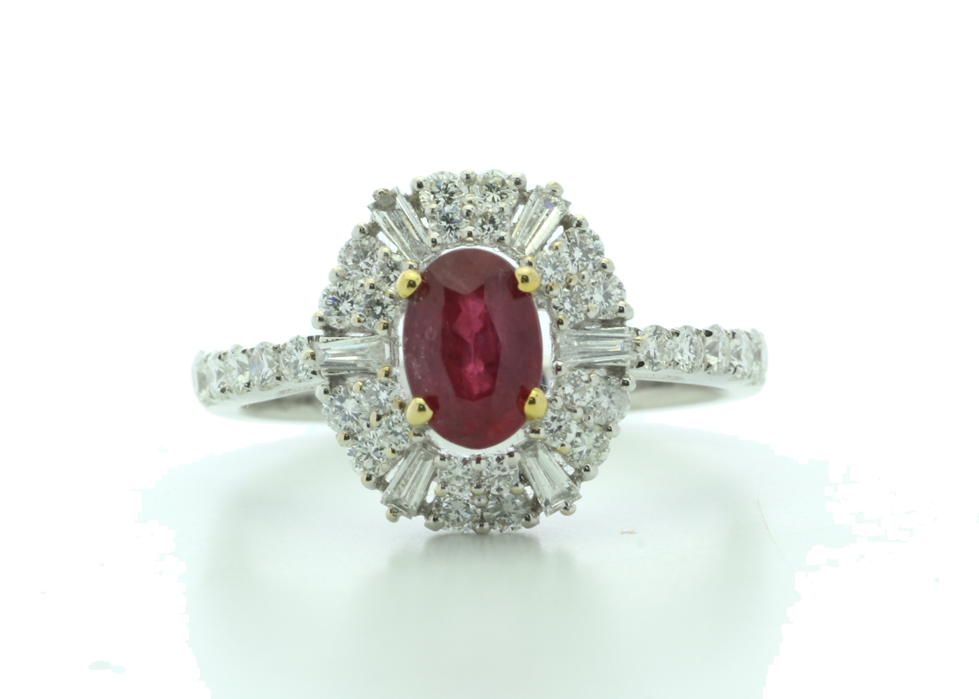 18k White Gold Cluster Diamond And Ruby Ring (R0.86) 0.80 Carats