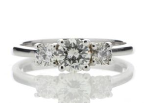 18k White Gold Three Stone Claw Set Diamond Ring 0.77 Carats