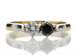 18k Two Stone Claw Set Diamond With Black Treated Stone Ring 0.50 Carats