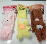 Brand New 40 Childrens Animal Scarfs, Winter