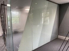 Glass office partition. Laminated