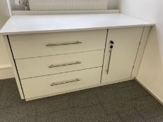 White storage cupboard with drawers. Lockable