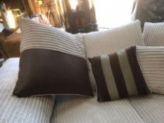 Louis 3 Seater Sofa in Mink and Brown fabric/faux leather. complete with reversible cushions