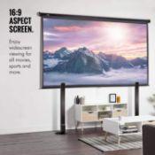 VonHaus 120-Inch Pull-Down Projector Screen - 16:9 Aspect Ratio - 1.1 Screen Gain Rating small scuff