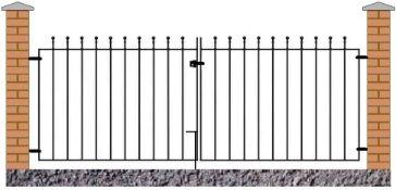 Manor Ball Top Metal Driveway Gates height 110 cm width 240cm (2 x 120cm)