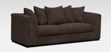 Dylan Fabric Sofa 3 Seater Chocolate Jumbo Cord