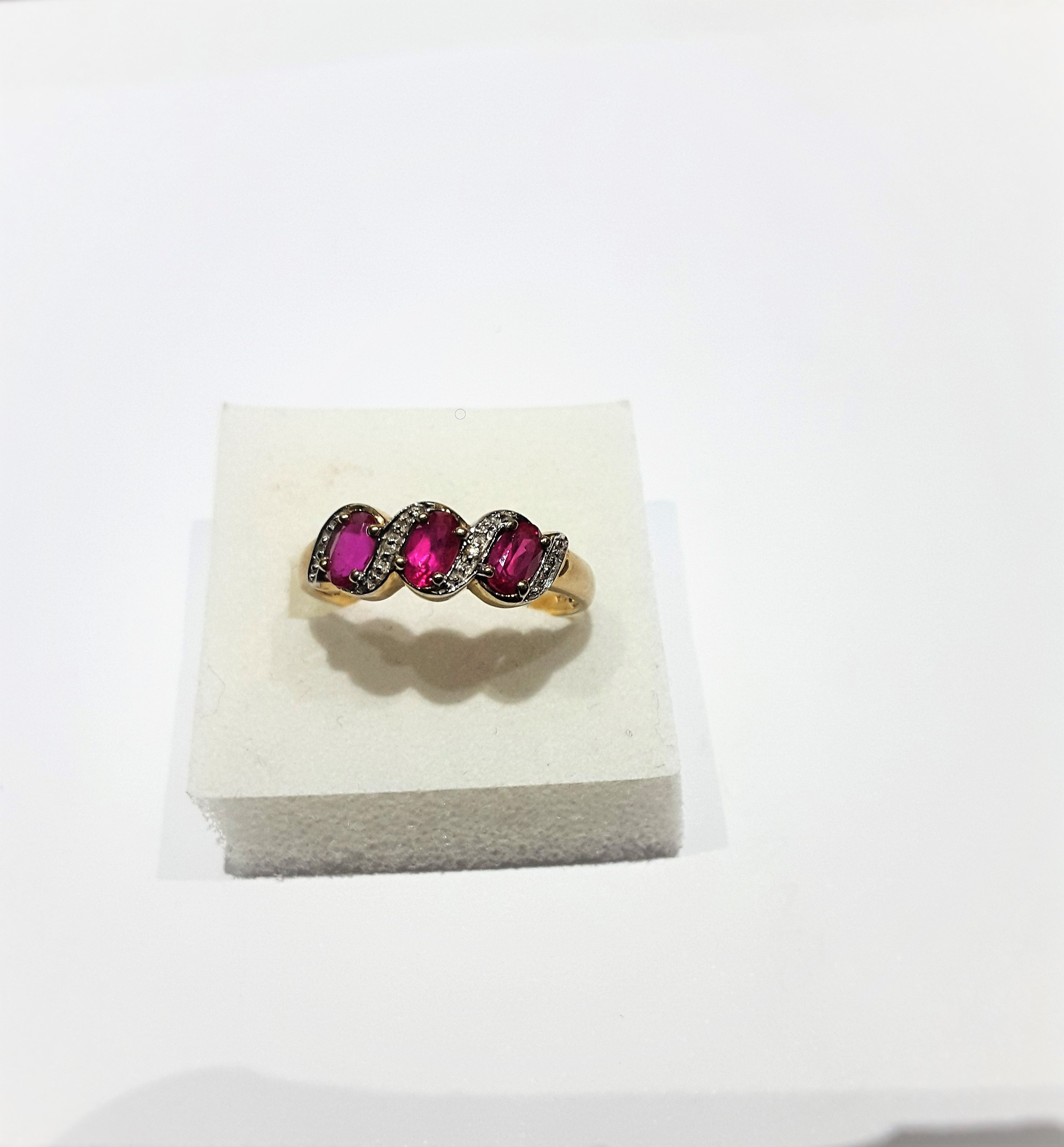 9Ct Gold Ruby And Diamond 3 Stone Ring