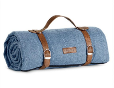 Blue Herringbone Picnic Blanket