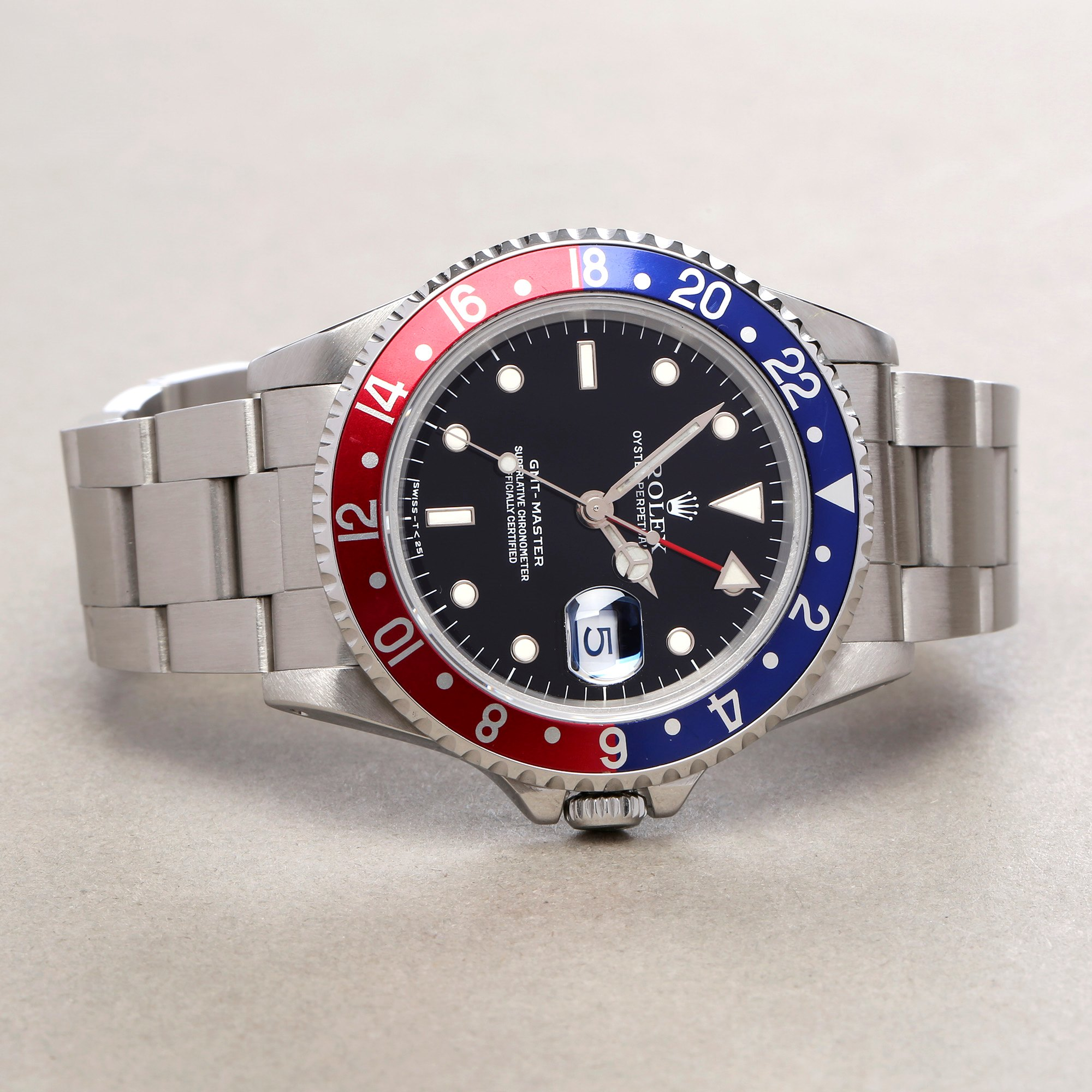 Rolex GMT-Master 16700 Men Stainless Steel Pepsi Serif Fat Font Watch - Image 10 of 11
