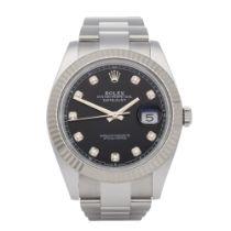 Rolex Datejust 41 126334 Men White Gold & Stainless Steel Diamond Watch