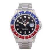 Rolex GMT-Master 16700 Men Stainless Steel Pepsi Serif Fat Font Watch