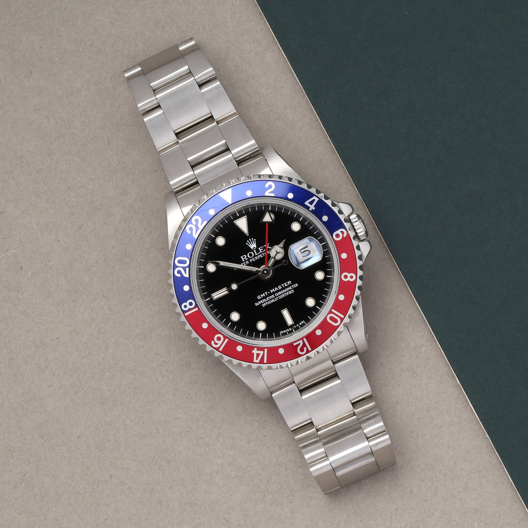 Rolex GMT-Master 16700 Men Stainless Steel Pepsi Serif Fat Font Watch - Image 11 of 11