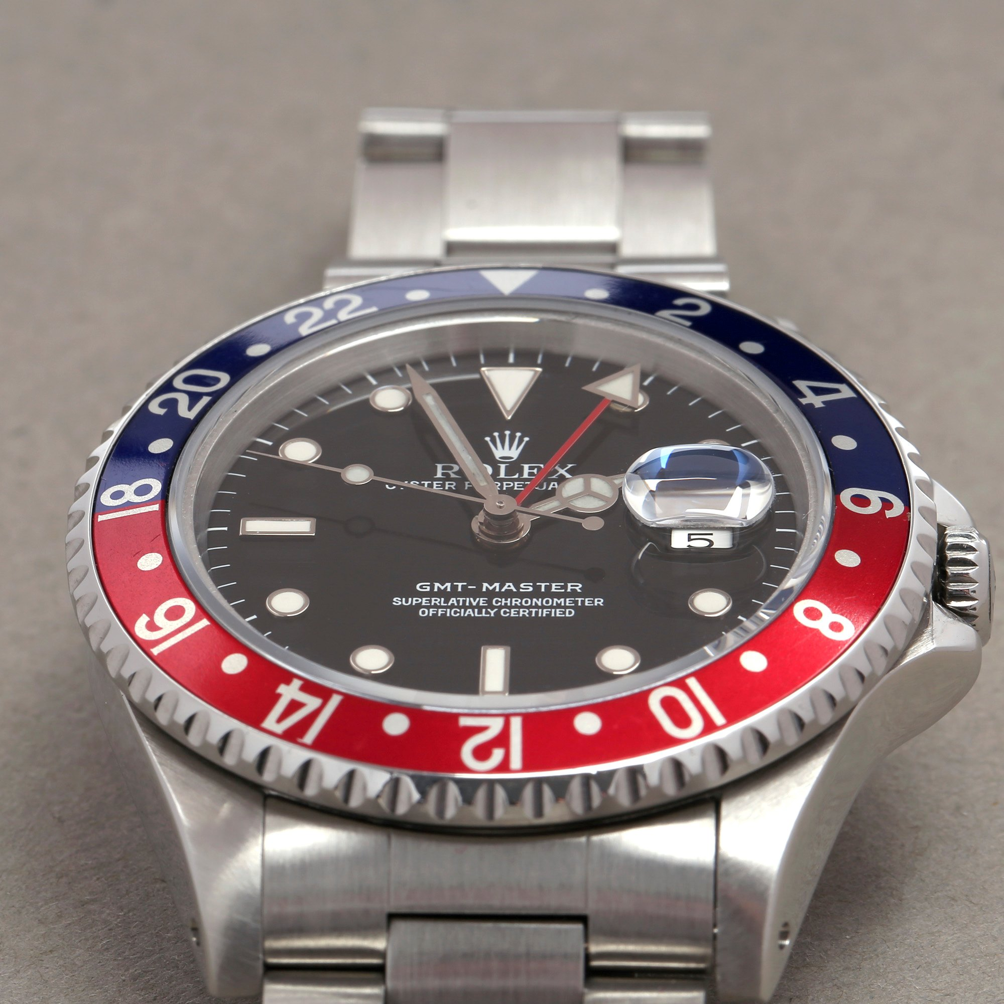 Rolex GMT-Master 16700 Men Stainless Steel Pepsi Serif Fat Font Watch - Image 9 of 11
