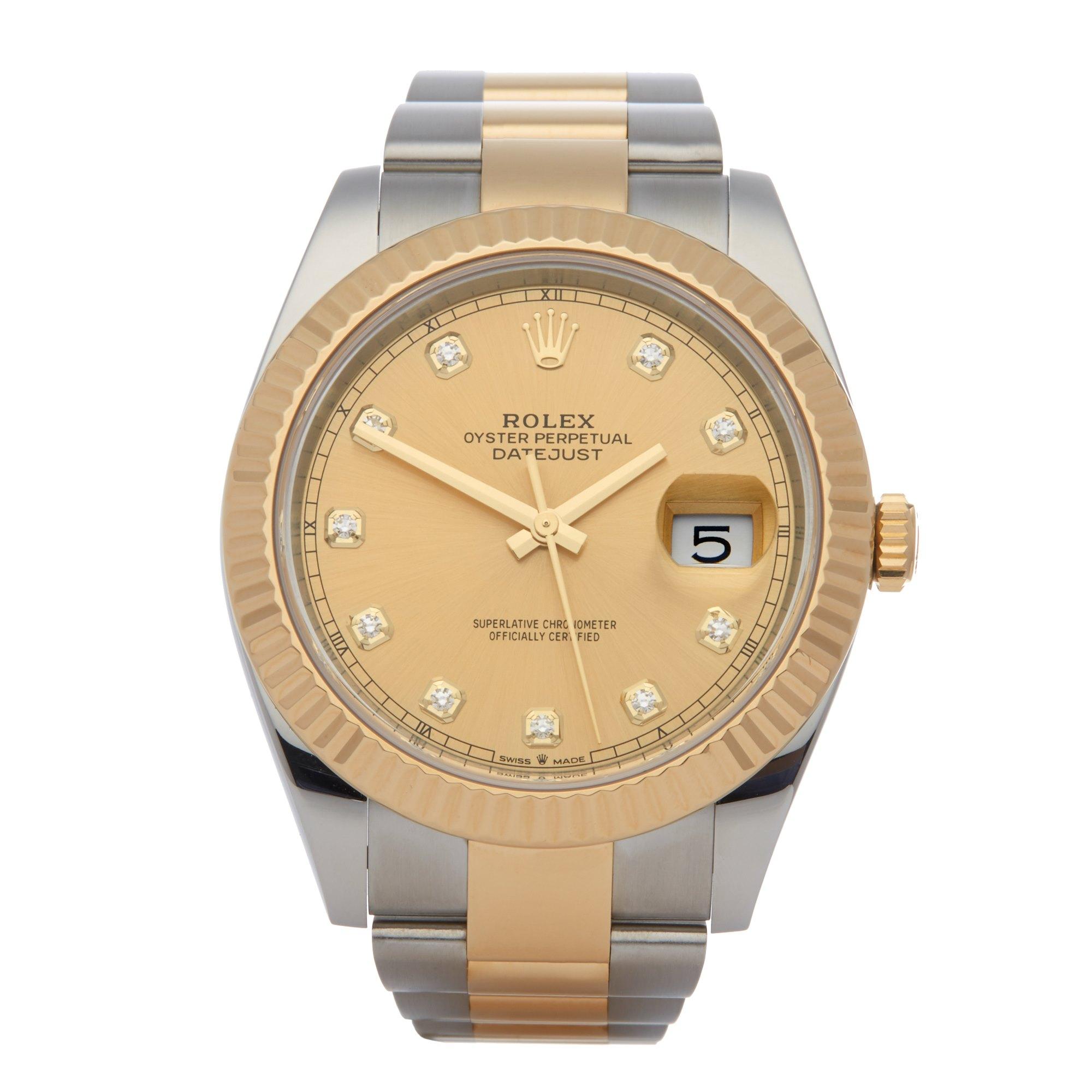 Rolex Datejust 41 126333 Men Yellow Gold & Stainless Steel Diamond Watch