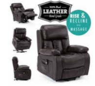 Brand New Boxed Brown Leather Powered Rise and Recline Chair - Customer Return