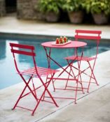 (R5H) 1x Lazio Bistro Set Pink RRP £85. Powder Coated Steel Frame. Foldable Units For Easy Storag