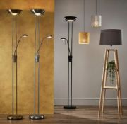 (R5O) 2x The Lighting Collection Father And Child Floor Standing Lamp. (1x Gold. 1x Silver)