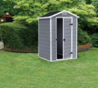 1x Keter Manor Outdoor Plastic Garden Storage Shed 4x3 Grey RRP £319.95. Dimensions (L103x W129x D