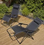 (R8A) 1x Zero Gravity Chair Black. Multi Adjustable Back And Foot rest. Corrosion Resistant Galva