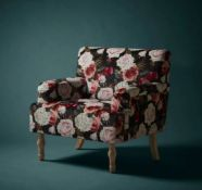 (R5J) 1x Elizabeth Floral Occasional Chair RRP £150. Patterned Velvet Chair. Whitewash Rubberwood