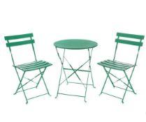 (R8A) 1x Lazio Bistro Set Green RRP £85. Powder Coated Steel Frame. Foldable Units For Easy Storag