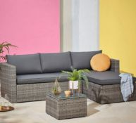 1x Alexandria Left Or Right Facing Corner Sofa Set RRP £300. Toughened Glass Table Top. Lounger D