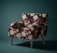(R5L) 1x Elizabeth Floral Occasional Chair RRP £150. Patterned Velvet Chair. Whitewash Rubberwood