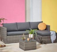 1x Alexandria Left Or Right Facing Corner Sofa Set RRP £300. 4 Seater Sofa Set. Toughened Glass