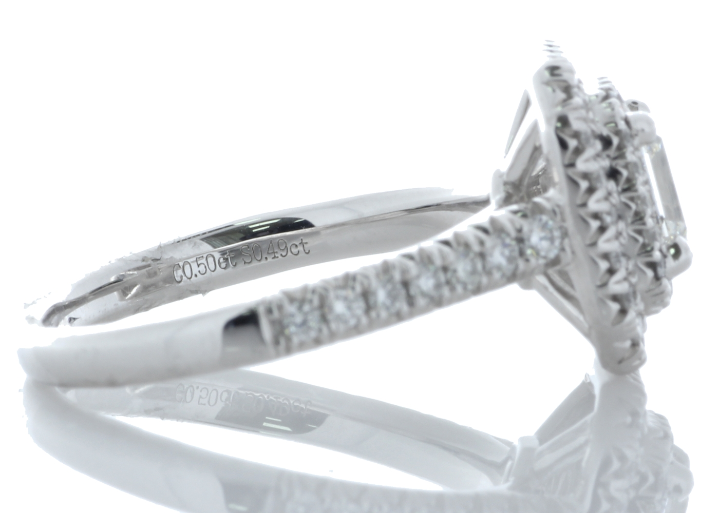 Platinum Single Stone With Halo Setting Ring 0.99 Carats - Image 2 of 4