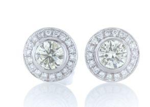 18ct White Gold Halo Set Diamond Earrings 1.20 Carats