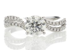 18ct White Gold Solitaire Diamond Ring With Two Rows Shoulder Set 1.31 Carats